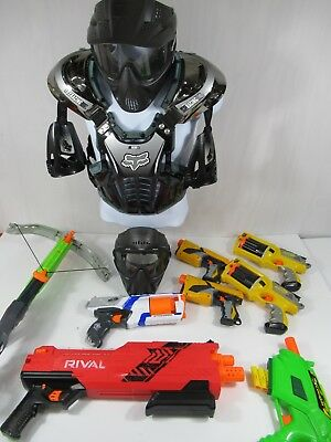 Huge Nerf Gun Nerf Wars Lot Fox Racing Chest Protector Pmi Face Masks 8 Blasters
