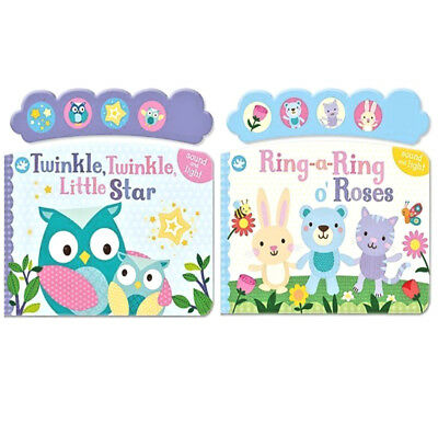 Light & Sound Baby Book Twinkle Twinkle & Ringa Ringa Roses set of 2 New Age 2yr