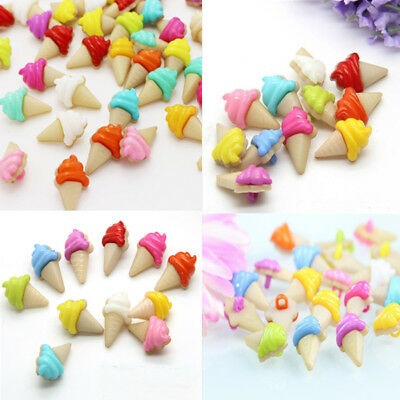 Lot 100Pcs Mixed Colors Plastic Ice Cream Sewing Buttons Scrapbooking Backhole