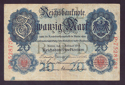 1914 Germany WW1 WWI 20 Mark type 1 P.46b