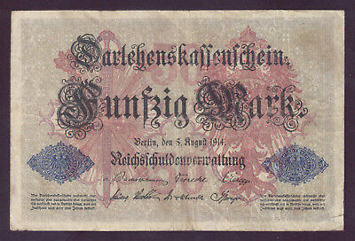1914 Germany WW1 WWI 50 Mark P.49b