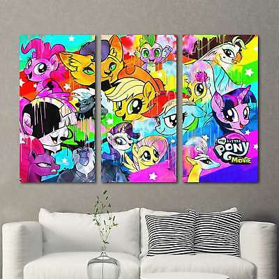 My Little Pony Painting 3PCS HD Canvas Print Home Decor Room Wall Art Picture