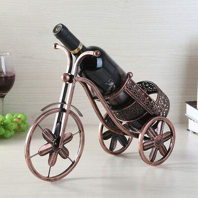 Creative Tricycle Red Wine Bottle Holder Rack Home Office Club Decor Iron Art