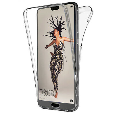 Coque Etui Housse 360° Clear FULL TPU Gel Silicone Stylet pour Huawei P20 5.8""