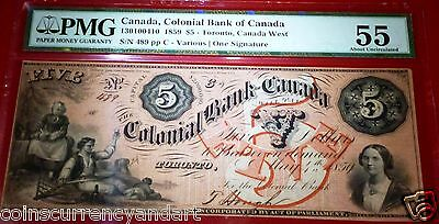 $5 , 1859 Canada,COLONIAL BANK OF CANADA ,PMG 55 ,CHARTERED, BANKNOTE