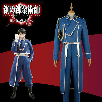 HOT FullMetal Alchemist Cos Roy Mustang Army Uniform Men Adult Cosplay Costume