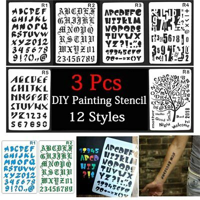 Painting Scrapbooking Paper Art Craft Letter Alphabet Number Layering Stencils