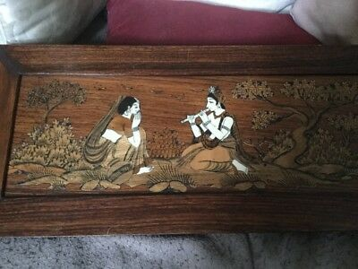 Antique Indian Framed Inlaid Wooden Picture Two Women Playing Flute & In Prayet
