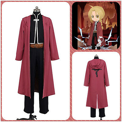 Men's Fullmetal Alchemist Edward Elric's Uniform Cosplay Costume Custom+Red Cape