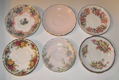 6 Vintage English China Saucers Pinks Floral * Royal Albert Queen Anne Tuscan +