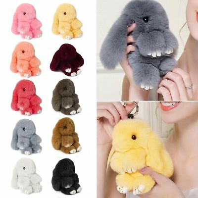 Rabbit Keychain Fluffy Bunny Keychain Faux Rabbit Fur Pompom Key Ring 18-20 cm