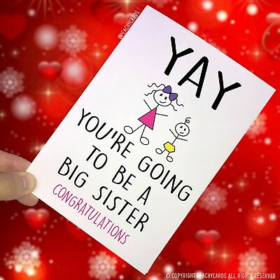 Surprise Card Going To Be A Big Sister Congrats New Baby Sibling Daughter PC83