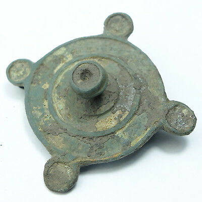 Ancient bronze roman fibula brooch enamel