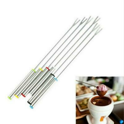 6pcs Stainless Steel Fondue Fork Fruit Chocolate Fountain Cheese Forks FI