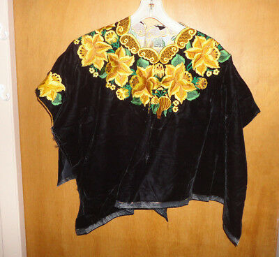 Lovely Hand Made in Guatemala Huipil Black Velvet With Yellow Flowers