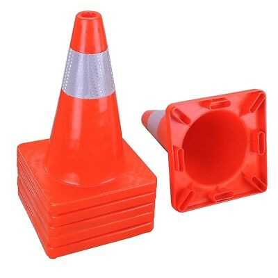 """6pcs 18"""" Traffic Cones Reflective Overlap Construction Road Safety Cone INCD VAT"""