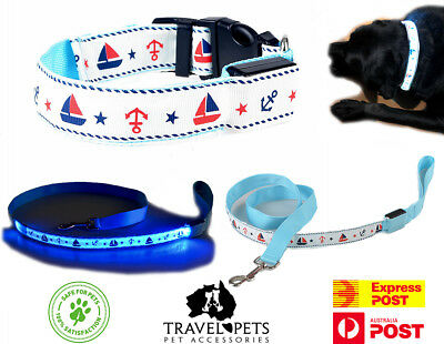 Nautical Dog Pet Collar & Leash LED Light Up Water Resistant USB Rechargeable