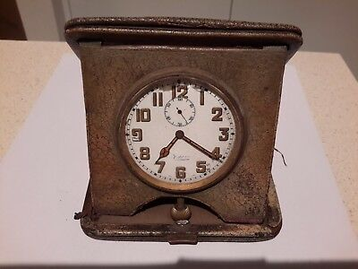 Antique Mappin travel clock with leather case
