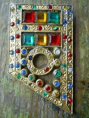 1930's Vintage Jewelry Art Deco Color Glass Stones Jewelry Brooch Branded H&h