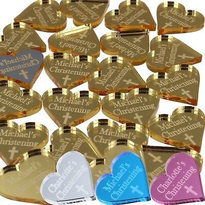 50 Christening Favours Heart Cross 2cm Decorations Personalised Boy Girl Name