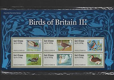 Gb 2011 Post And Go Birds Of Britain (3) Stamp Set Mint
