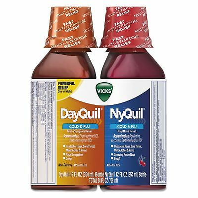 Vicks DayQuil/NyQuil Cold & Flu Liquid Combo Pack 12 oz Day/12 oz Night Exp3/18
