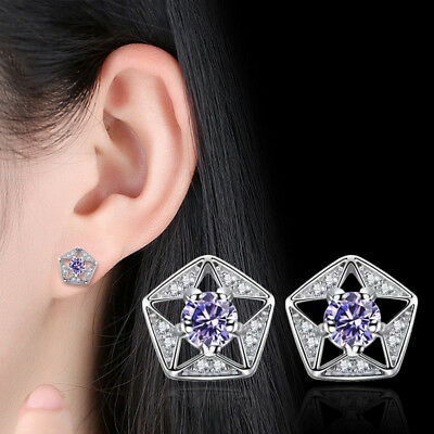 925 Sterling Silver Crystal Hollow Star Stud Earrings For Charm Women Jewelry