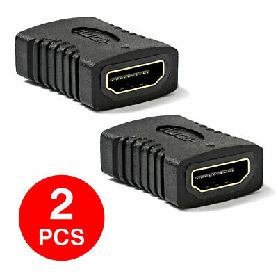 2x Connector HDMI to HDMI Coupler Female Gold Plated Adapter