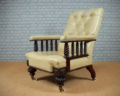 Antique Large Leather Easy Armchair c.1860.