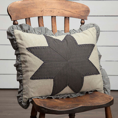 New Primitive Country Americana NAVY PATCHWORK STAR Homespun Gingham Pillow
