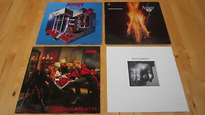 3 x Accept LP Vinyl Metal Heart Restless and Wild Russian Roulette Erstpressunge