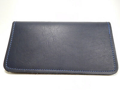 Bay State Exclusive Navy Soft Real Leather Standard Checkbook Cover-Made in USA.