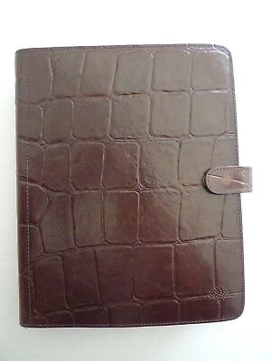 Mulberry -  Leather  Planner With Many Inserts- Faux Croc-Larger Size-Made In Uk