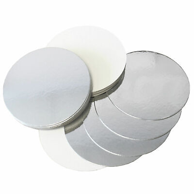 """Poly Coated Cake Boards Silver & White Reversible.3,4,6,7,8,9,10,11,12"""" Sqr/rnd"""