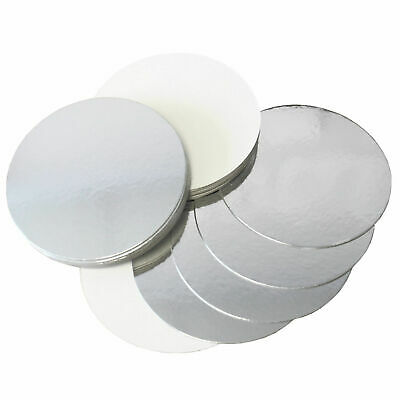 """REVERSIBLE CAKE BOARDS 1.5mm THICK SILVER & WHITE 3"""",4"""",6"""",7"""",8"""",9"""",10"""",11"""",12"""""""