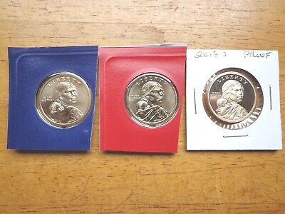 2018 P D S Sacagawea Dollar Proof Native American 3 Coin Set Sealed Mint Cello