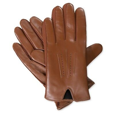 $170 ISOTONER Men's Leather Gloves Brown lined TOUCHSCREEN WINTER DRIVING Size L