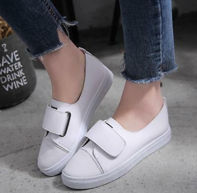 Womens Ladies Flat Leather Smart Comfy Slip on Loafer School Office Pumps Shoes