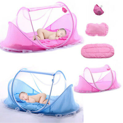 8Foldable Infant Baby Mosquito Net Travel Cot Tent Mattress Cradle Bed Pillow UK