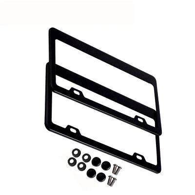 2 Pcs Stainless Steel Metal License Plate Frames Tag Cover Screw Caps Black