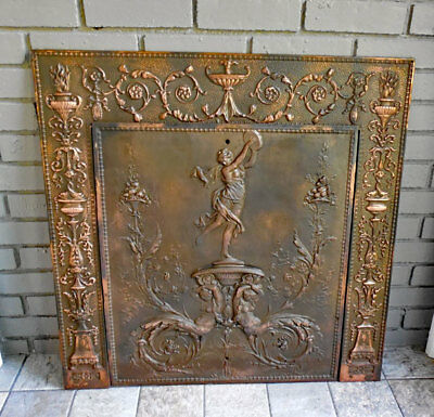 ANTIQUE Iron FIREPLACE COVER & FRAMEr *MYTHICAL MAIDENS*  Sharp & Son 1895