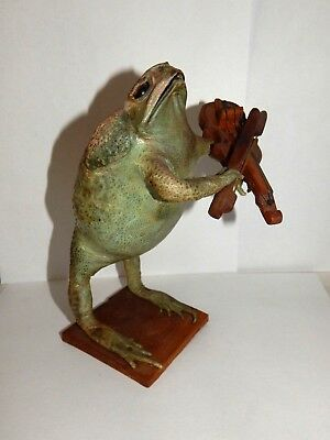 Vintage Taxidermy Frog playing violin instrument