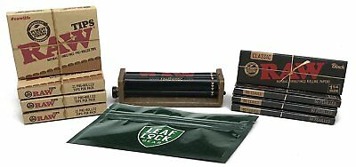 RAW Black 1 1/4 Rolling Papers, RAW Pre-rolled Tips, RAW 79mm Adjustable Roller