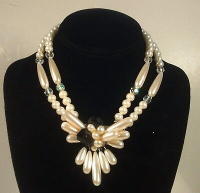 Vintage Faux Pearl & Crystal Statement Necklace 1980's