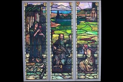 Antique Rudy Bros Triptych Stained Glass Window- Free Freight Shipping