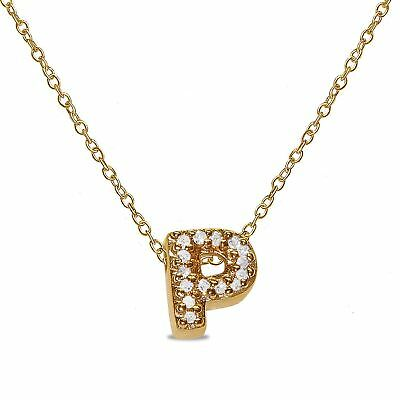 """.056CT Natural Diamond Letter """"P"""" Initial Necklace Pendant 10k SOLID Yellow Gold"""