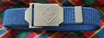 Boy's Cub Scout Uniform Belt  Adjustable Navy BSA Belt Silver sz Youth M/L