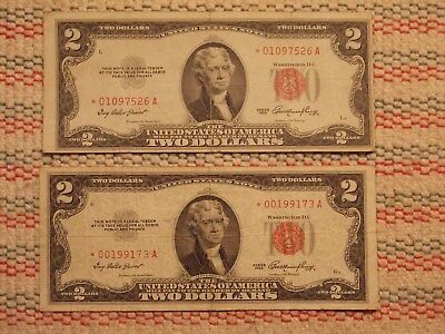 Two $2.00 Dollar star notes red seal