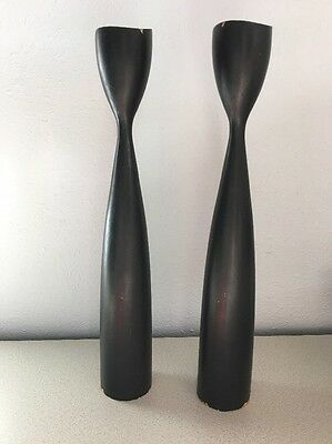 Vintage MID-CENTURY DANISH MODERN  Wood Black TULIP CANDLE HOLDERS * MARKED
