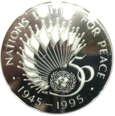1945 1995 Two Pounds 50th Anniversary of the United Nations Silver Proof Piedfor